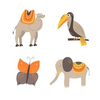 スカンジナビアスタイルのかわいい動物。手描き