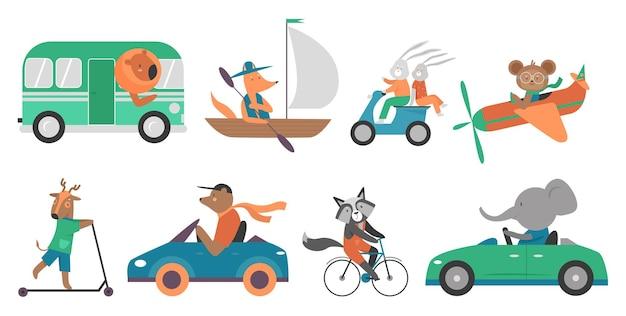 Симпатичные животные в скоростном транспорте набор иллюстрации