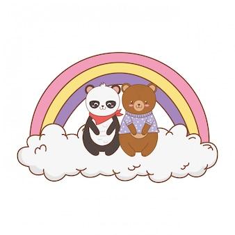 Милые животные в облаках с радугой лесных персонажей
