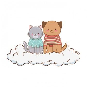구름 숲 캐릭터에 귀여운 동물