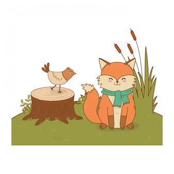 Милые животные в поле лесных персонажей
