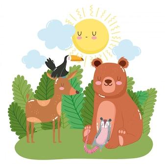 森の中のかわいい動物