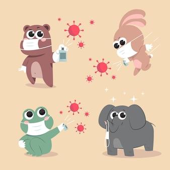 코로나 바이러스 시대의 귀여운 동물