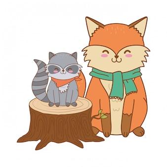 Милые животные в грузовик лесных персонажей
