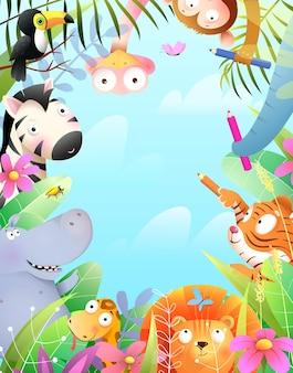 Cute animals invitation or greeting card