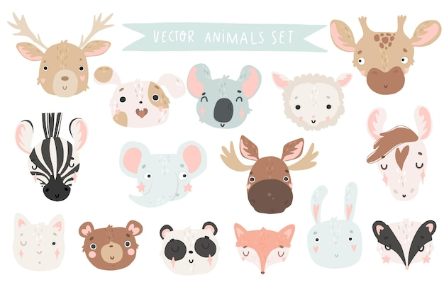 Cute animals isolated illustration for children vector image