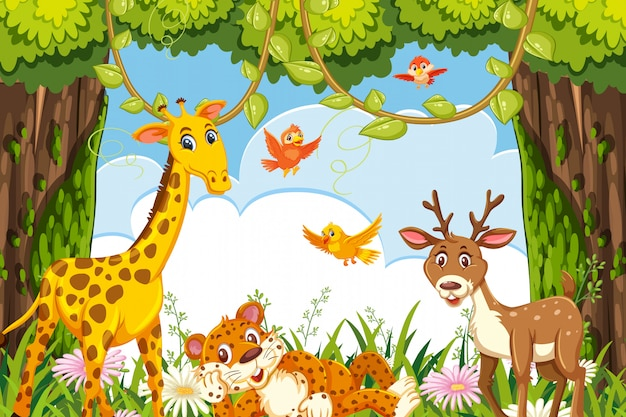 Cute animals in jungle scene