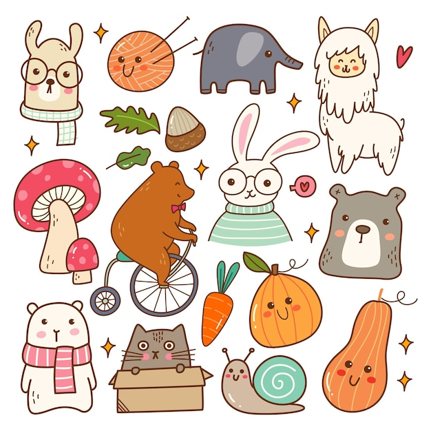 Симпатичные животные каваи каракули набор векторные иллюстрации