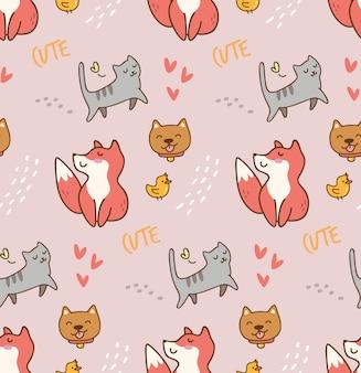 Cute animals kawaii pattern