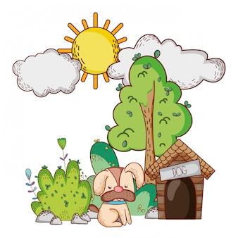 かわいい動物、家の木自然漫画と小さな犬