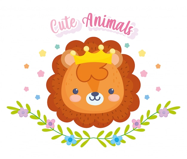 Cute animals, little lion with crown foliage leaves