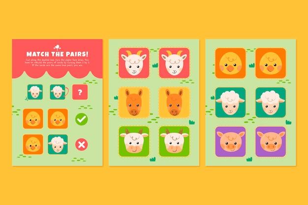 Cute animals match game worksheet