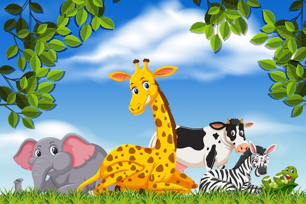 Cute animals in nature scene