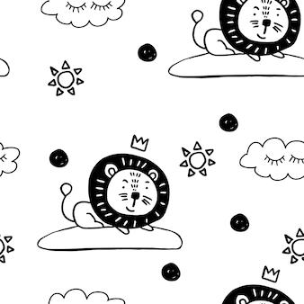 사자와 귀여운 동물 북유럽 trandy 패턴