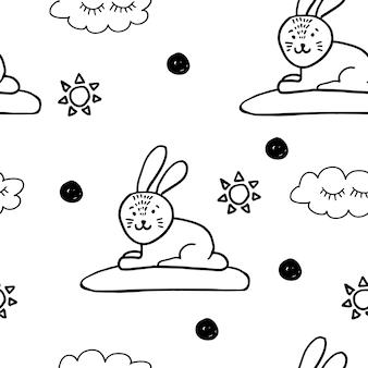 토끼와 귀여운 동물 북유럽 trandy 패턴