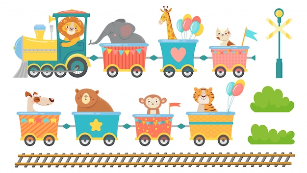 電車の中でかわいい動物。鉄道車で幸せな動物、小さなペットがおもちゃの機関車漫画のベクトルイラストセットに乗る