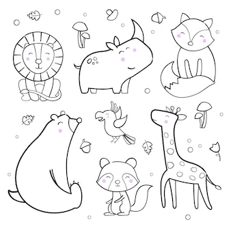 Cute animals outline vector collection