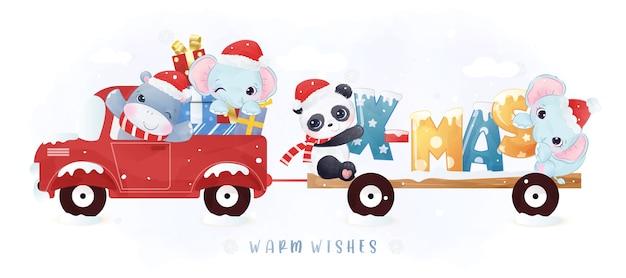 クリスマスの日にかわいい動物がパレード
