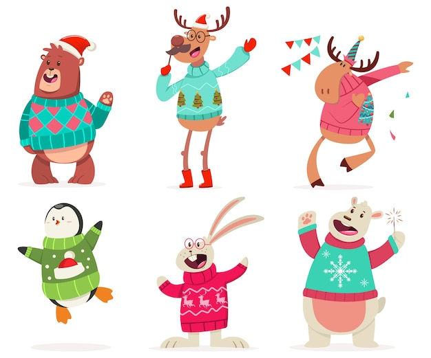 Cute animals on the party in an ugly christmas sweater