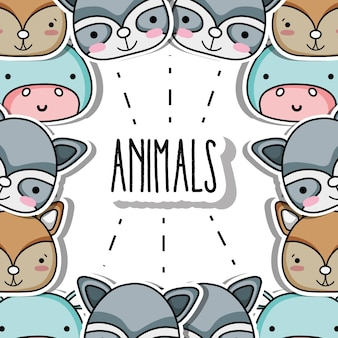 Cute animals patches background design vector illustration