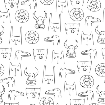 Cute animals pattern in linear hand drawn style on white background