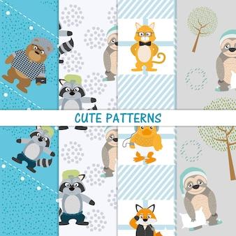 귀여운 동물 패턴 벡터 일러스트 그래픽 디자인