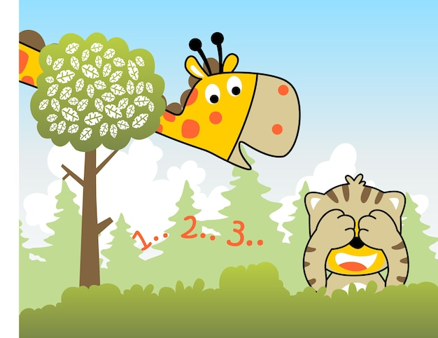 Cute animals play hide and seek, vector cartoon