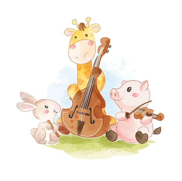 Cute animals playing classical  music instruments illustration
