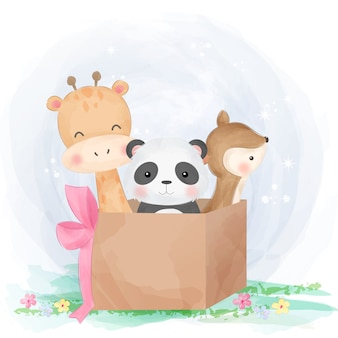 Cute animals playing with box