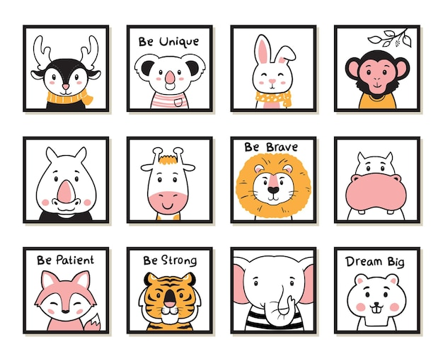 Cute animals poster nursery