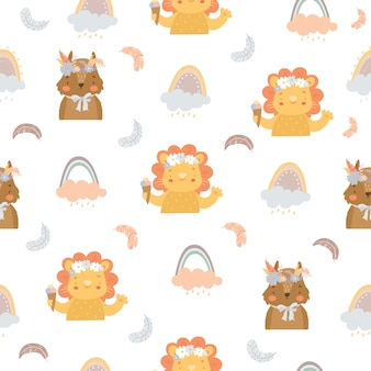 Cute animals and rainbow pattern