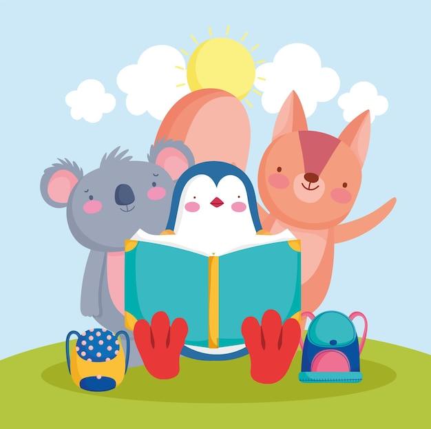 Cute animals reading a book