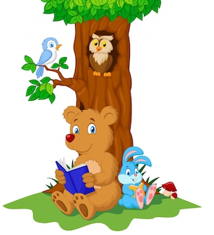 Cute animals reading book