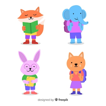 Cute animals ready to study collection