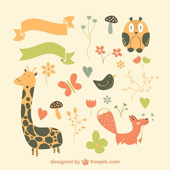 Cute animals and ribbons