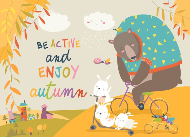 Cute animals riding a bicycles in autumn park