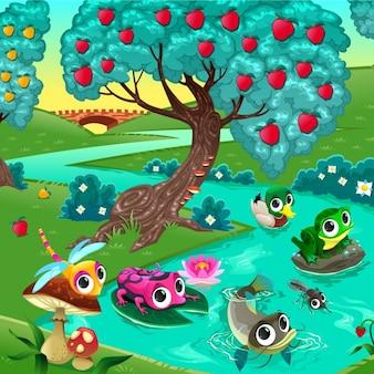 Animali divertenti su un fiume nella illustrazione vettoriale di legno del fumetto