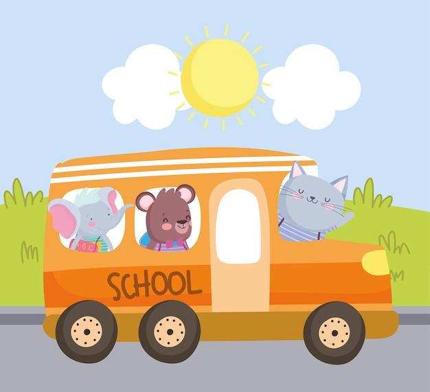 Cute animals school bus