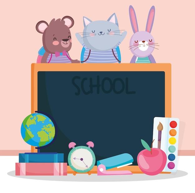 Cute animals school cartoon