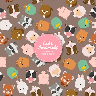 Cute Animals Seamless Background