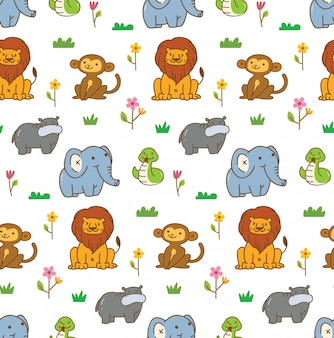 Cute animals seamless background