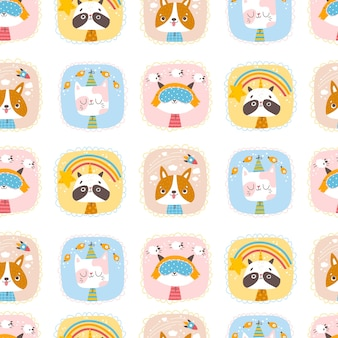 Cute animals seamless pattern portraits of a cat raccoon dog and fox