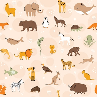 かわいい動物のシームレスなパターン