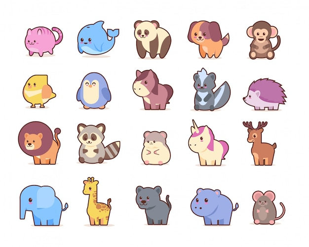 Cute animals set cartoon comic characters