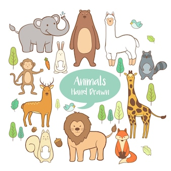 Cute animals set in hand drawn background