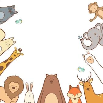 Cute animals set in hand drawn frame background