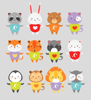 Cute animals set. little rabbit, fox, tiger in color pajamas isolated cartoon characters.