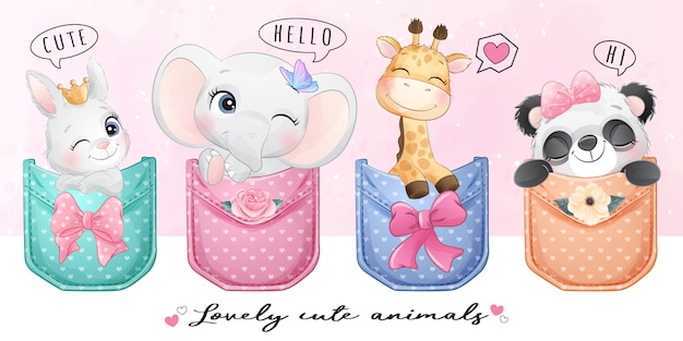 Cute animals sitting inside the pocket illustration
