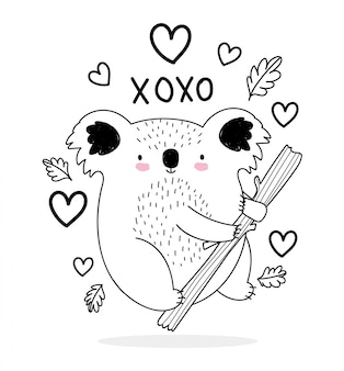 Cute animals sketch wildlife cartoon adorable koala in branch love hearts  illustration