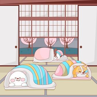 Simpatici animali che dormono su un futon al chiuso